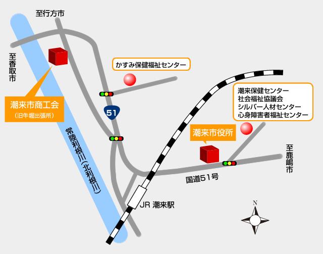 潮来市市庁舎の位置図