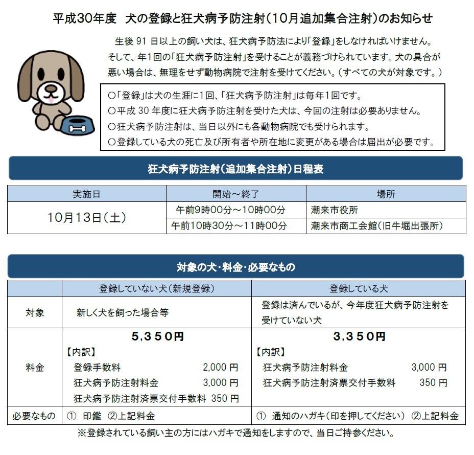 H30 犬の登録と追加集合注射