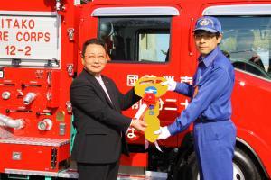 消防車両 引渡し式1