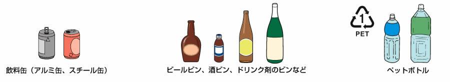 飲料用の缶、ビン、ペットボトルの画像