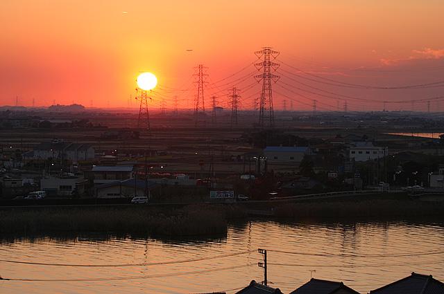 水郷の夕陽3大